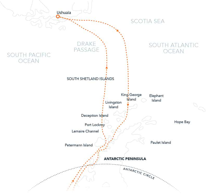 Route map of Antarctic Southern Latitudes polar expedition, operating round-trip from Ushuaia, Argentina, with visits to the South Shetland Islands, the Antarctic Peninsula & an attempt to reach the Circle.