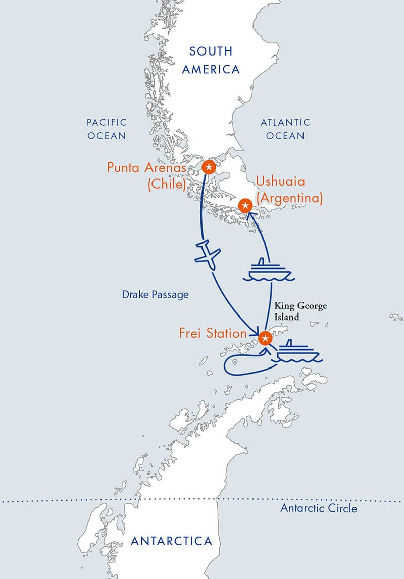 Route map of reverse Antarctica Express Air Cruise, flying from Punta Arenas, Chile, to King George Island, cruising the Antarctic Peninsula & ending with a cruise to Ushuaia, Argentina for disembarkation.