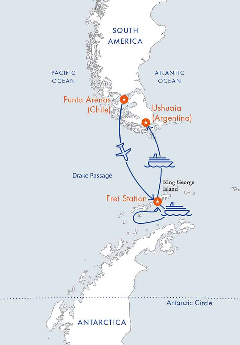 Route map for reverse Antarctica Express Air Cruise, fly there and sail back