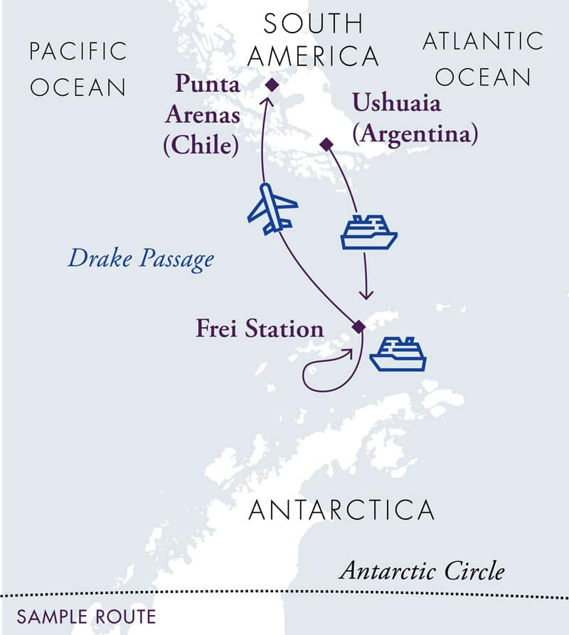 Route map for Antarctica Express Air Cruise, sail there and fly back