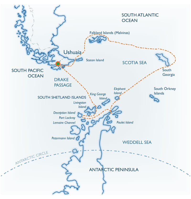 Route map for 20-Day Classic South Georgia small ship cruise itinerary, operating round-trip from Ushuaia, Argentina, with visits to the Falklands & Antarctic Peninsula.
