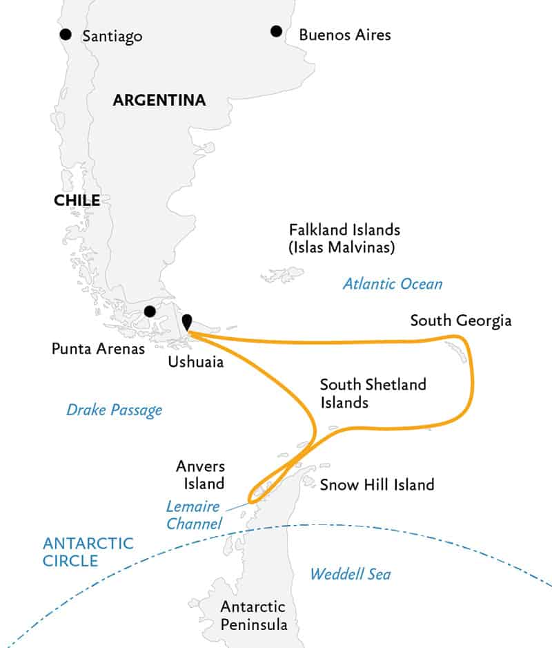 Route map of Penguin Safari expedition, operating round-trip from Ushuaia, Argentina, with visits to South Georgia Island, the South Shetland Islands & the Antarctic Peninsula.
