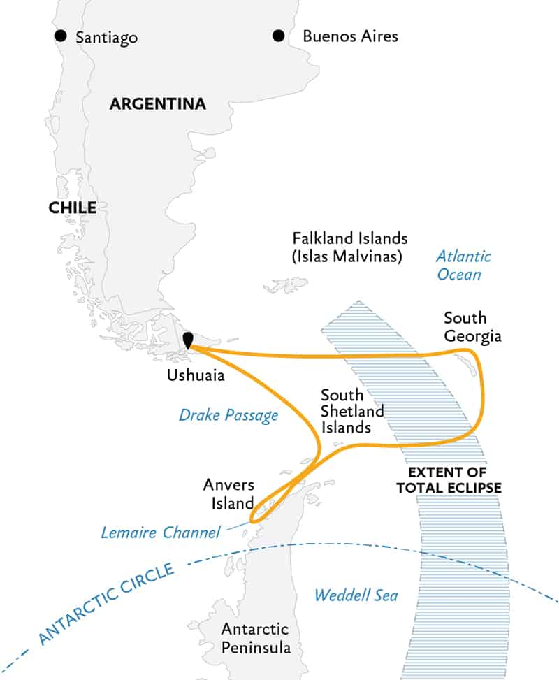Route map of Totality in Antarctica, with South Georgia small ship voyage, operating round-trip from Ushuaia, Argentina, with visits to South Georgia Island & the Peninsula.