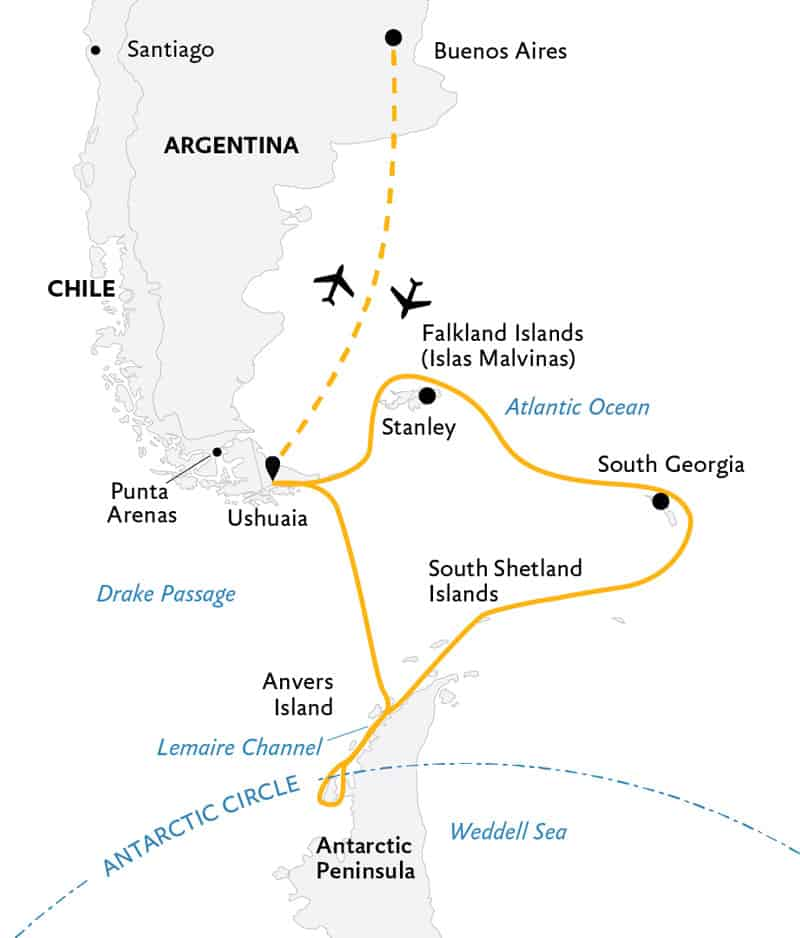 Route map of Epic Antarctica 23-day voyage, operating round-trip from Buenos Aires, Argentina, with visits to the Falkland Islands, South Georgia, the Peninsula & the Antarctic Circle.