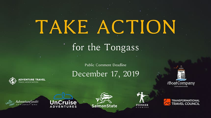 Take action for the Tongass promotional image with company logos and public comment deadline of December 17, 2019.