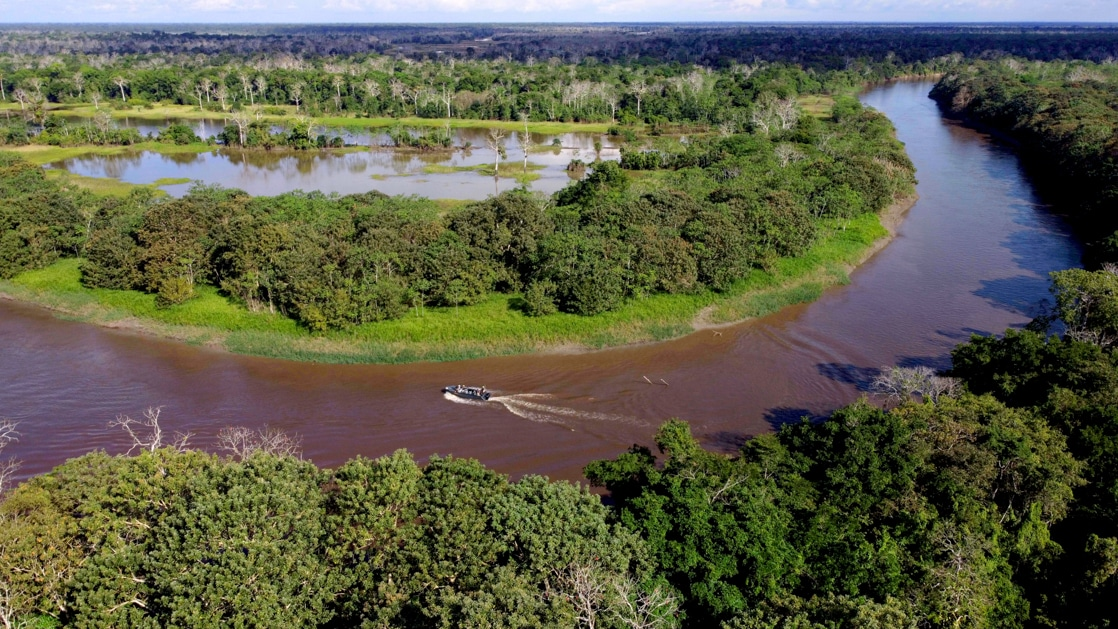An aerial drone photo of the winding river as it snakes through the lush green jungle of the Peruvian Amazon rainforest.