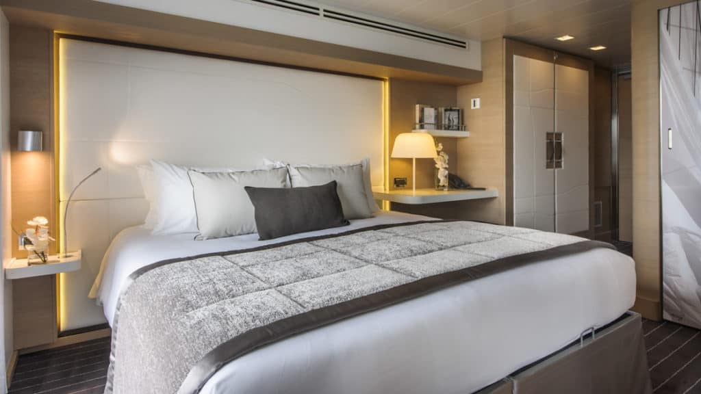 Superior Stateroom with king bed aboard Le Soleal.  Photo by: Francois Lefebvre/Ponant