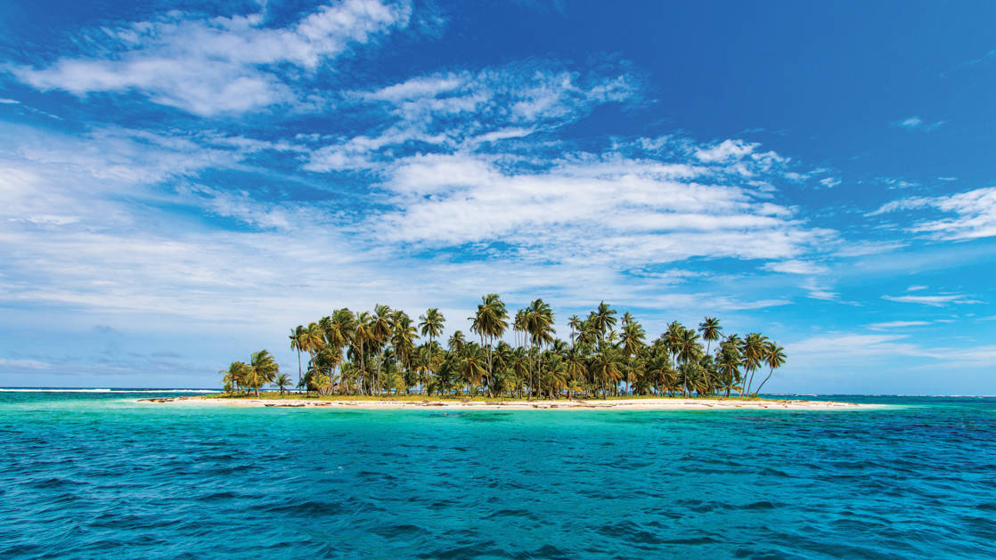 Tropical San Blas Islands, Panama, as seen during the Panama & Colombia: Exploring the Caribbean Coast small ship cruise.