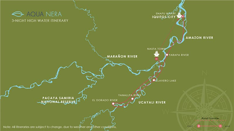 Route map for 4-day High Water Aqua Nera Peru Amazon River Cruise Itinerary