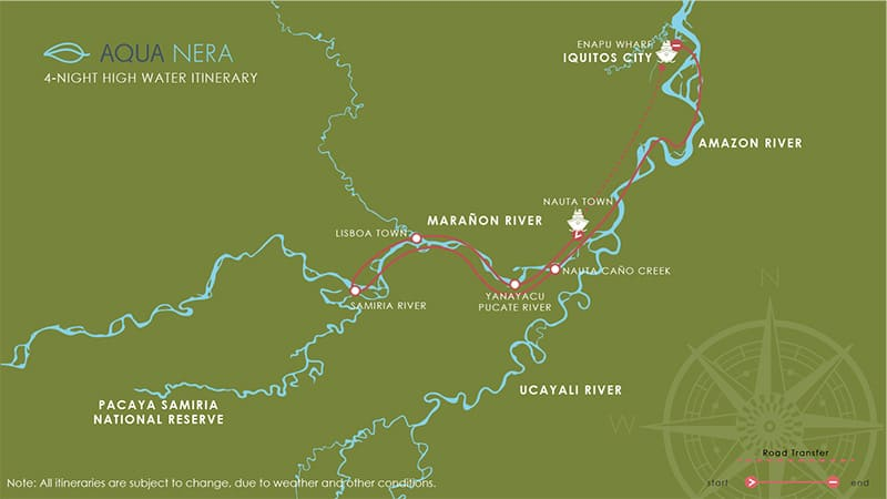 Route map for 5-day High Water Aqua Nera Peru Amazon River Cruise Itinerary