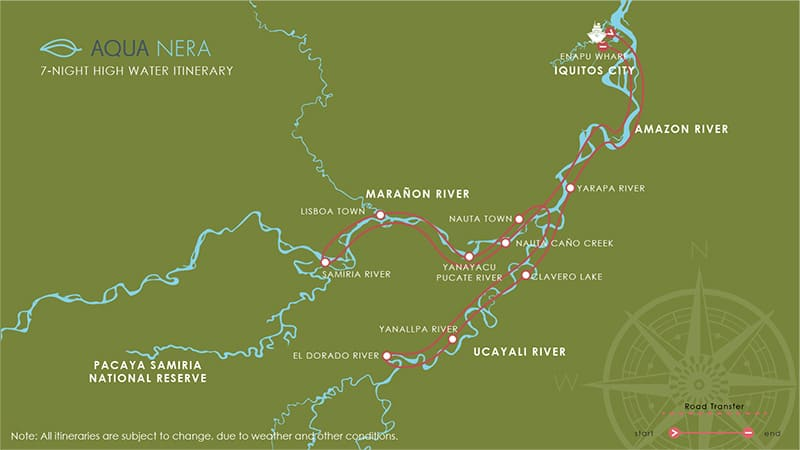 Route map for 8-day High Water Aqua Nera Peru Amazon River Cruise Itinerary
