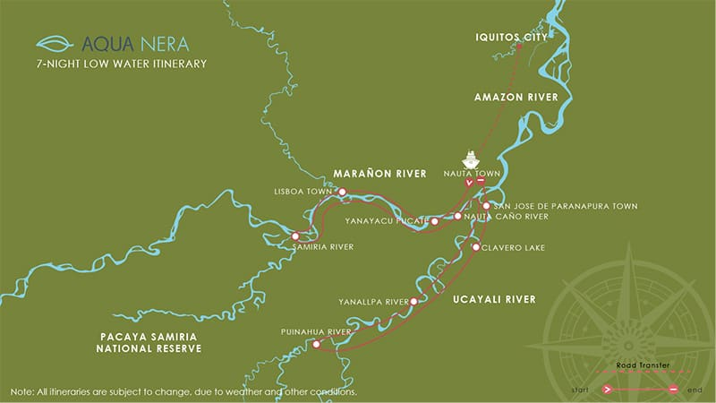 Route map for 8-day Low Water Aqua Nera Peru Amazon River Cruise Itinerary