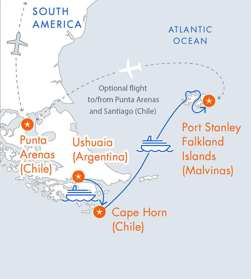 Route map of main Falkland Islands Air Cruise, operating from Ushuaia, Argentina, to Punta Arenas, Chile, with visits to Port Stanley, Cape Horn & the Falkland Sound.
