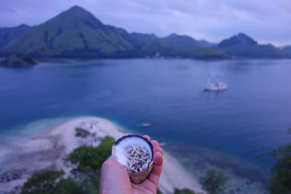 A hand extends over a look out, holding a shell with an engagement ring inside it. Beyond you can see the ocean surrounded by islands and sandy beaches, all part of a remote Indonesia cruise