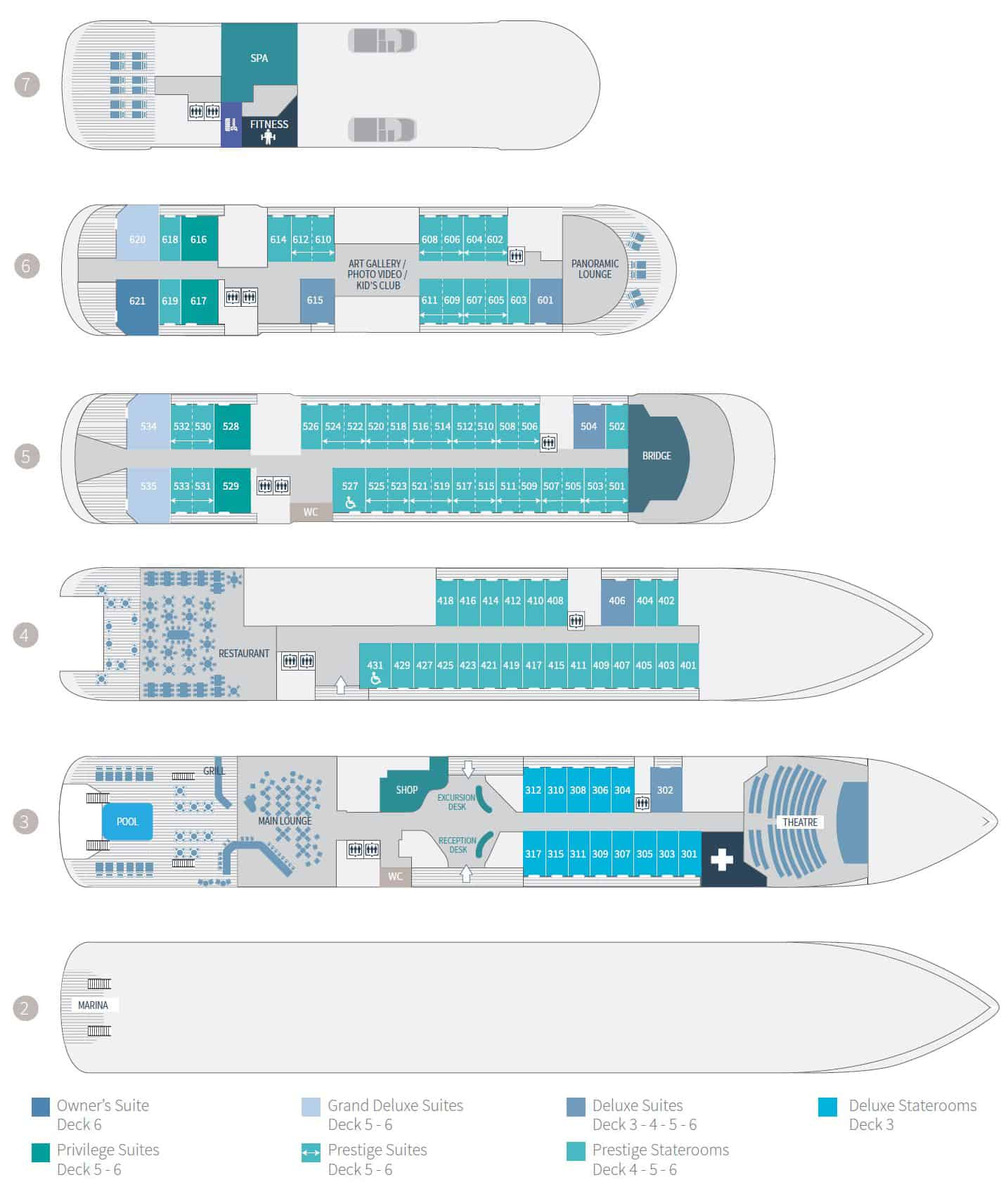 Deck plan of 184-guest Le Champlain French luxury expedition ship, showing 4 passenger decks with 88 staterooms & 4 suites.