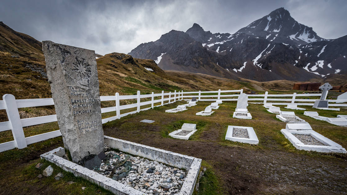 The simple stone grave of Sit Ernest Shackleton, seen during the Falkland Islands Air Cruise.