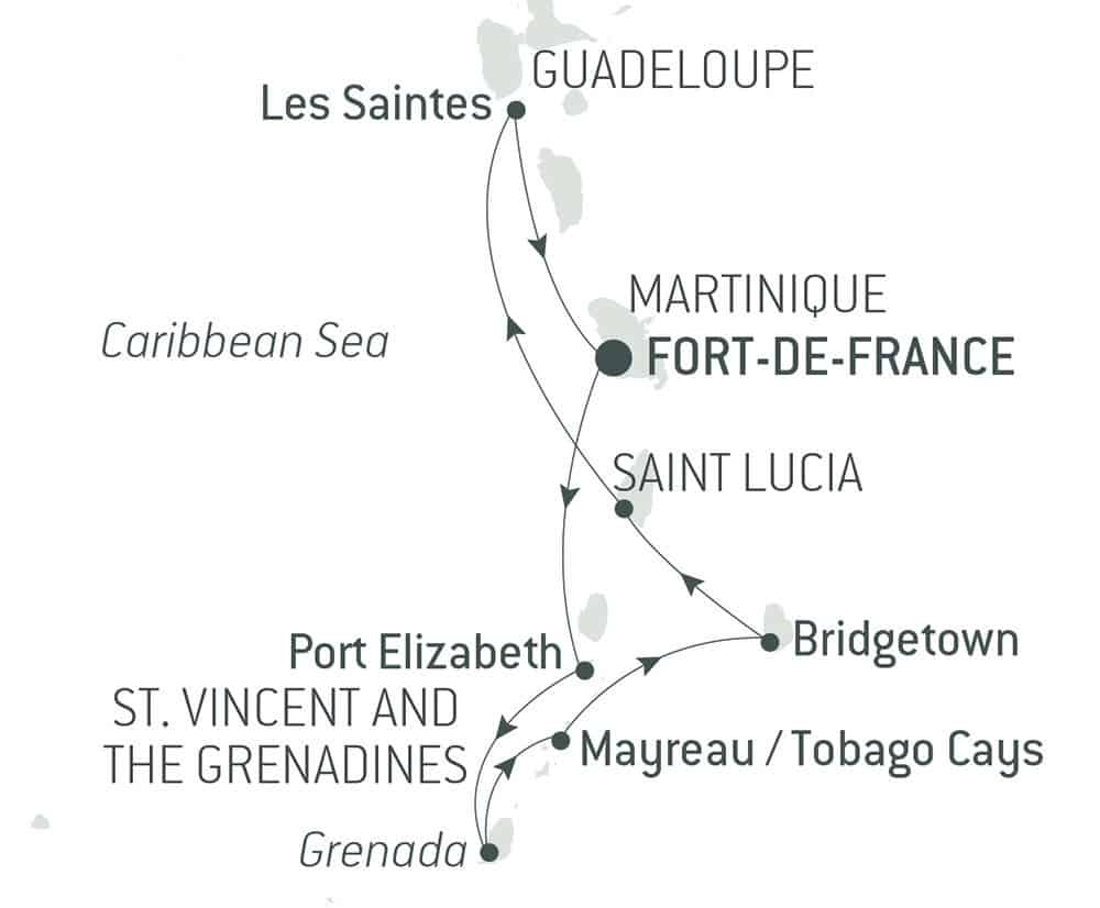 "Route map of 9-Day Pearls of the Caribbean Cruise, operating round-trip from Fort-de-France, Martinique, with visits to Port Elizabeth on Bequia Island, Saint George's on Grenada, Mayreau Island, Tobago, Bridgetown in Barbados, Pigeon Island, Soufriere in Saint Lucia & ""The Saints."""