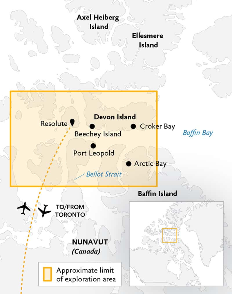 Route map of the Arctic Express Canada: The Heart of the Northwest Passage cruise, operating round-trip via charter flight from Toronto, with embarkation and disembarkation in Resolute, Canada, and visits to the heart of the Nunavut islands, including Baffin, Beechey and Devon.