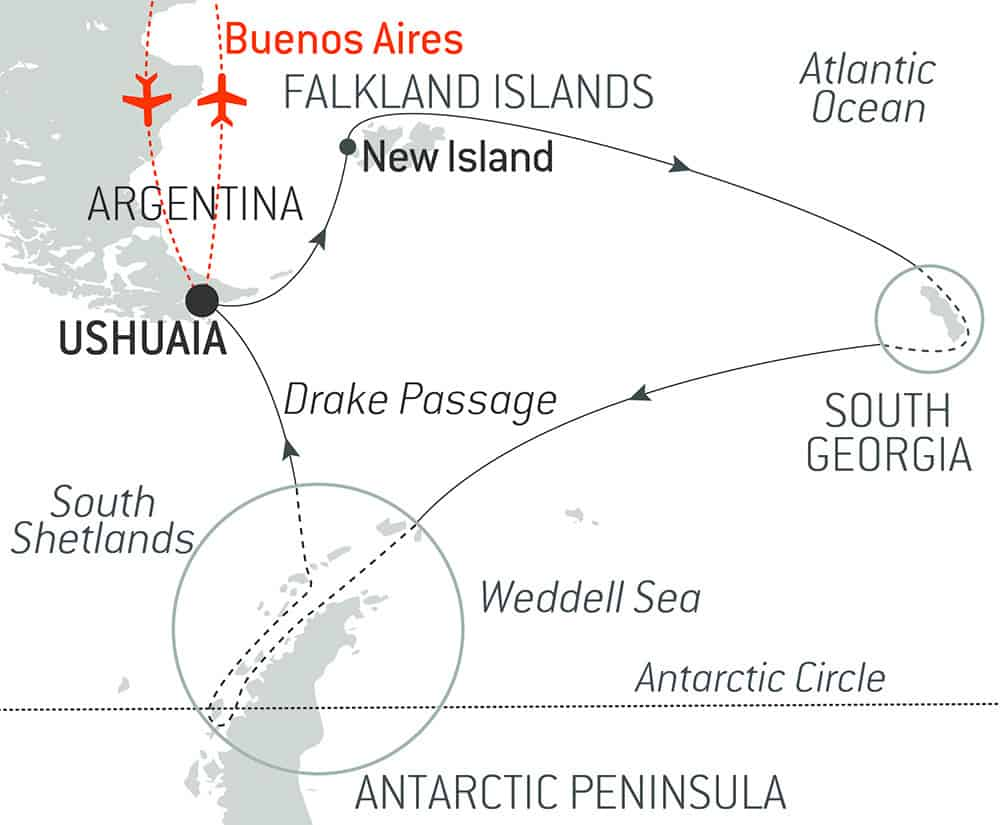 Route map of Beyond the Polar Circle luxury Antarctica voyage, operating round-trip from Buenos Aires, Argentina, with embarkation & disembarkation in Ushuaia, Argentina, & visits to the Falkland Islands, South Georgia Island, the Antarctic Peninsula & an attempt to cross the polar circle.