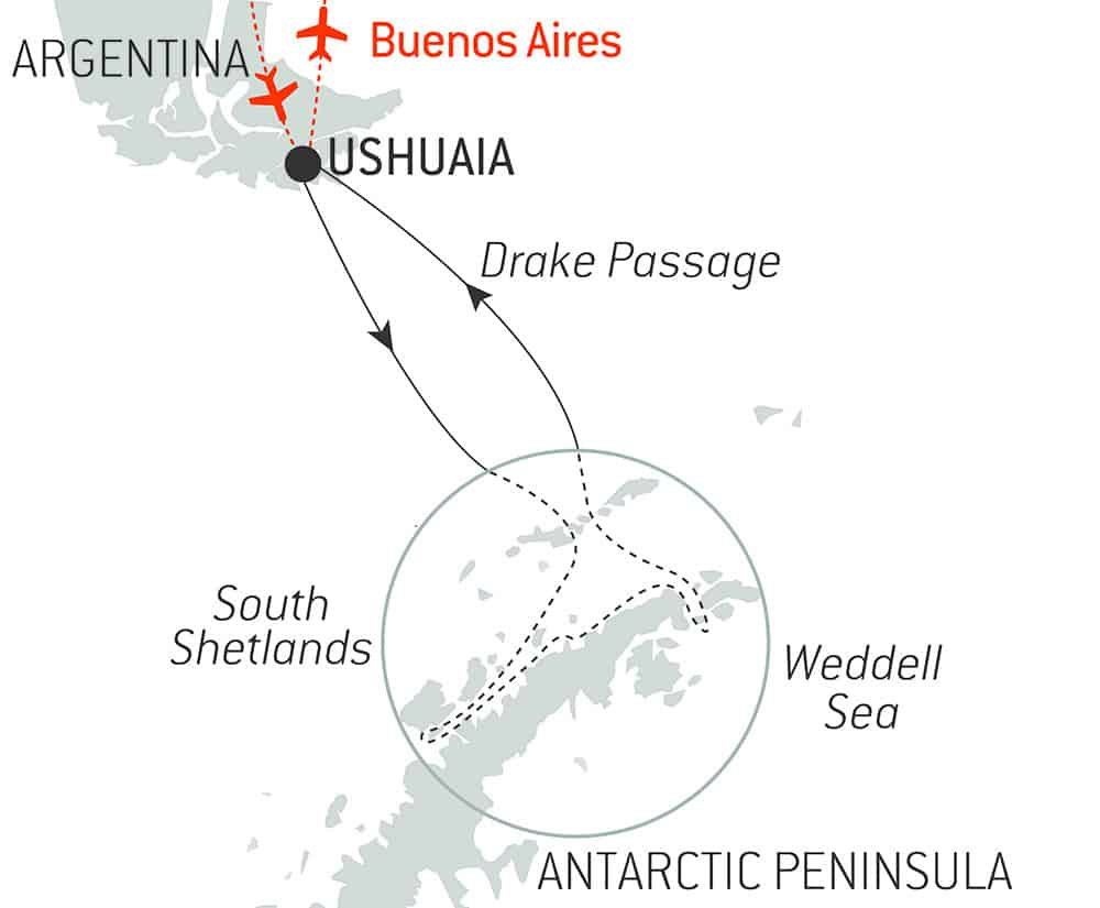 Route map of Emblematic Antarctica Cruise, operating round-trip from Ushuaia with stops along the Antarctic Sound, the Weddell Sea, the South Shetland Islands & the Antarctic Peninsula.