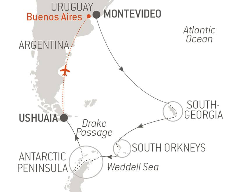 Route map of Expedition to Southern Lands voyage, operating between Montevideo, Uruguay, and Ushuaia, Argentina, with a charter flight to end in Buenos Aires, and visits to the South Orkney Islands, South Georgia & the Antarctic Peninsula.