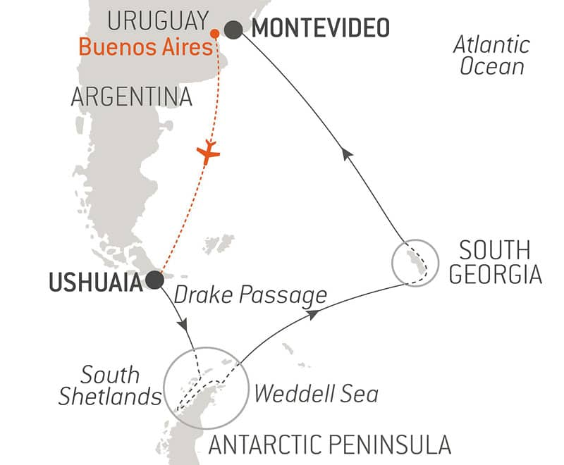 Route map of The Great Adventure Antarctica voyage, operating round-trip from Ushuaia, Argentina, with visits to the Peninsula, South Georgia & Montevideo, Uruguay.