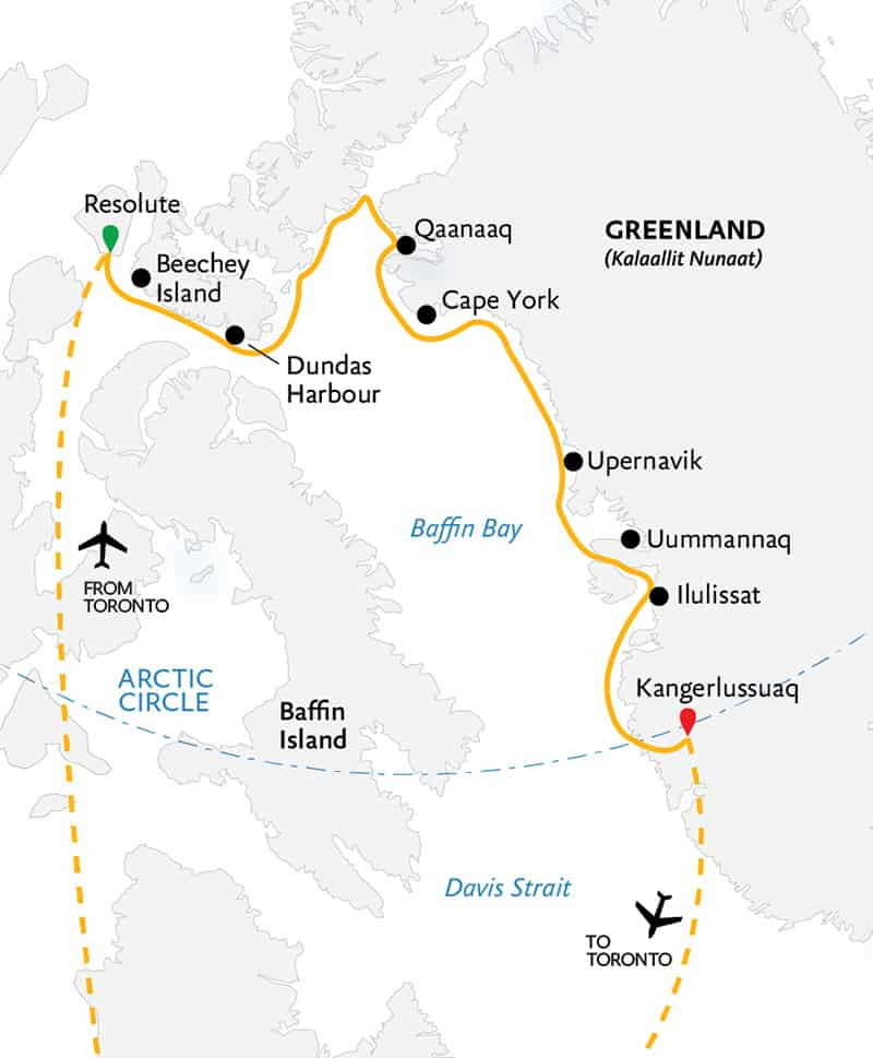 Route map of the Northwest Passage: Epic High Arctic cruise, operating round-trip via charter flight from Toronto, with embarkation in Resolute, Canada, and disembarkation in Kangerlussuaq, Greenland, and visits along western Greenland.