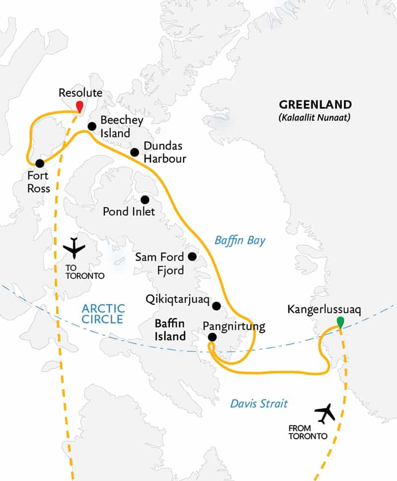 Route map of the Northwest Passage: In the Footsteps of Franklin cruise, operating round-trip via charter flight from Toronto, with embarkation in Kangerlussuaq, Greenland, and disembarkation in Resolute, Canada, and visits along eastern Baffin Island.