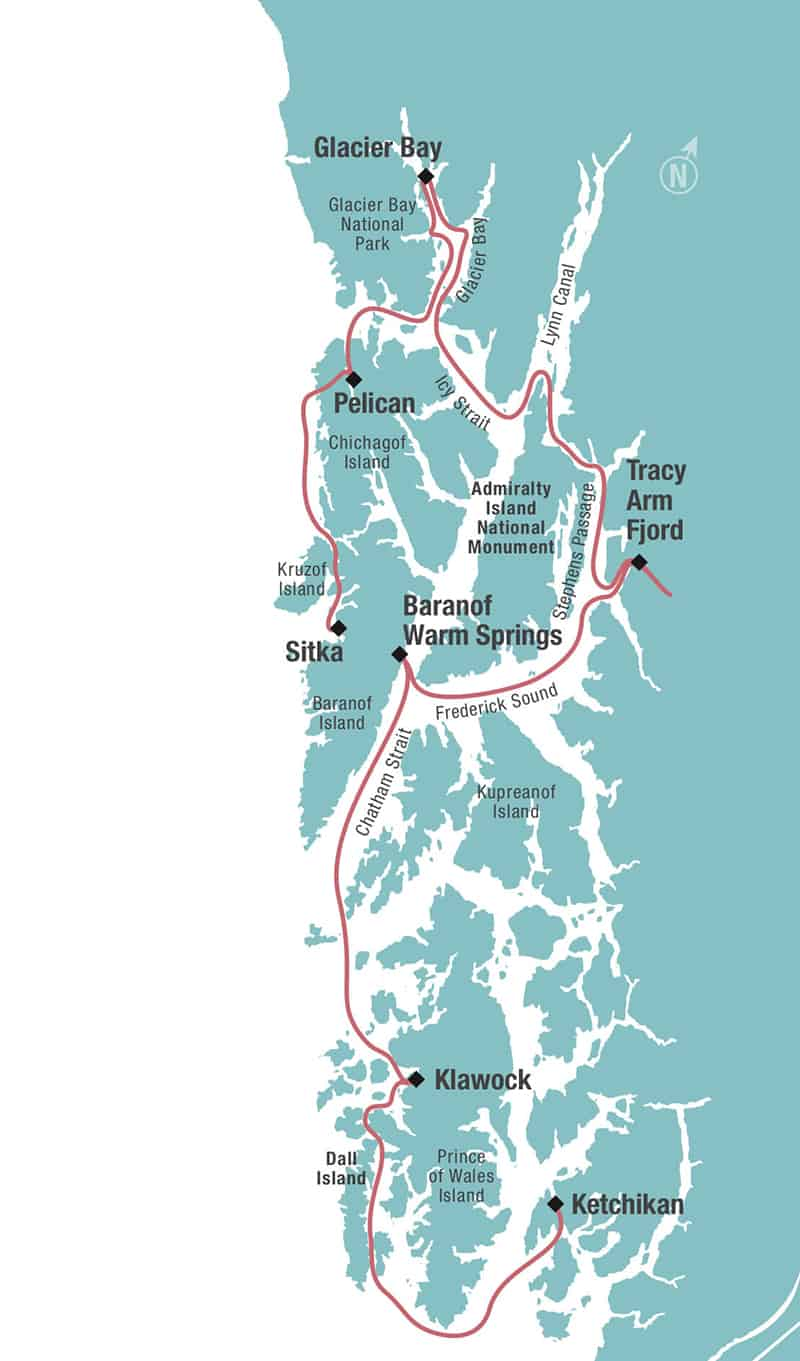 Route map of southeast Alaska's Remote Alaska Adventure small ship cruise, operating between Ketchikan & Sitka, with visits to Klawock, Baranof Warm Springs, Tracy Arm Fjord, Glacier Bay & Pelican.