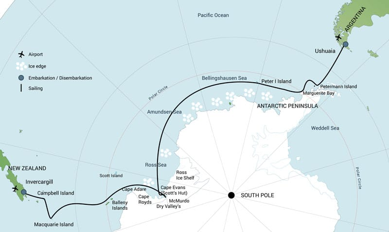Route map of Spectacular Ross Sea: West Antarctica Cruise, operating between Bluff, New Zealand & Ushuaia, Argentina, with visits along the western side of the Antarctic Peninsula.