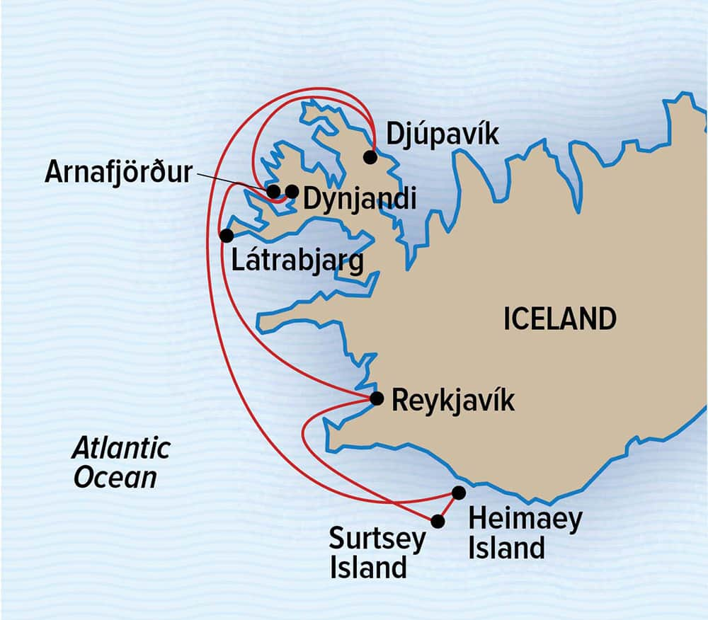 Route map of Wild Iceland Escape Arctic voyage, operating round-trip from Reykjavik with visits to Djúpavík, Arnafjordur, Latrabjarg Cliffs, Surtsey Island, Heimaey Island & the Westman Islands.