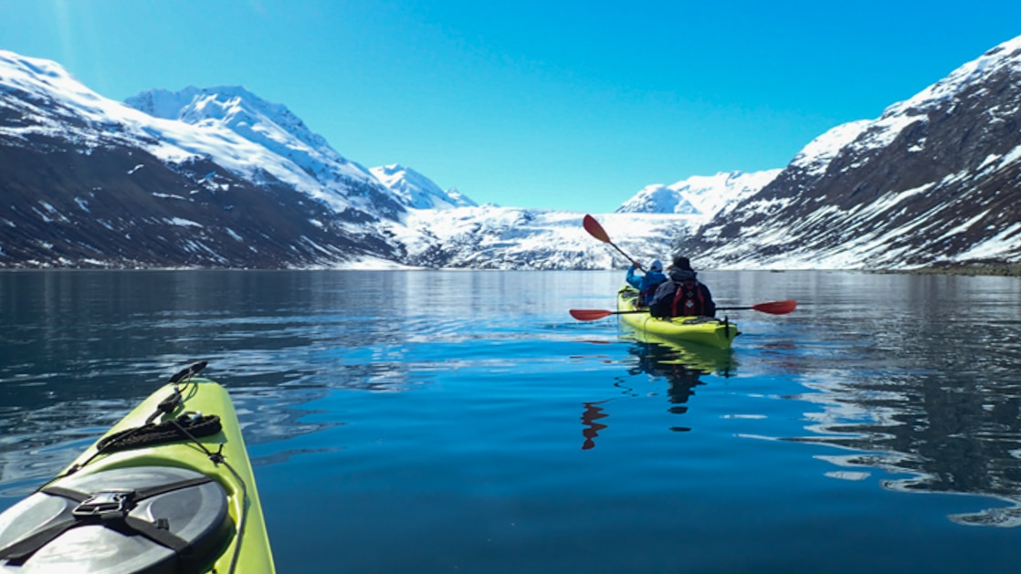 Tandem kayakers paddle toward a glacier on a sunny day in Alaska during the Ultimate Glacier Bay, Wilderness & Wildlife small ship cruise.