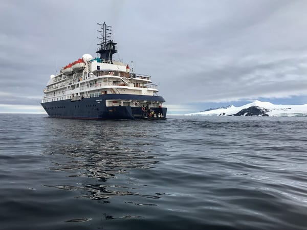 exterior shot of the hebridean sky polar expedition ship  floating in the polar waters on antarctica