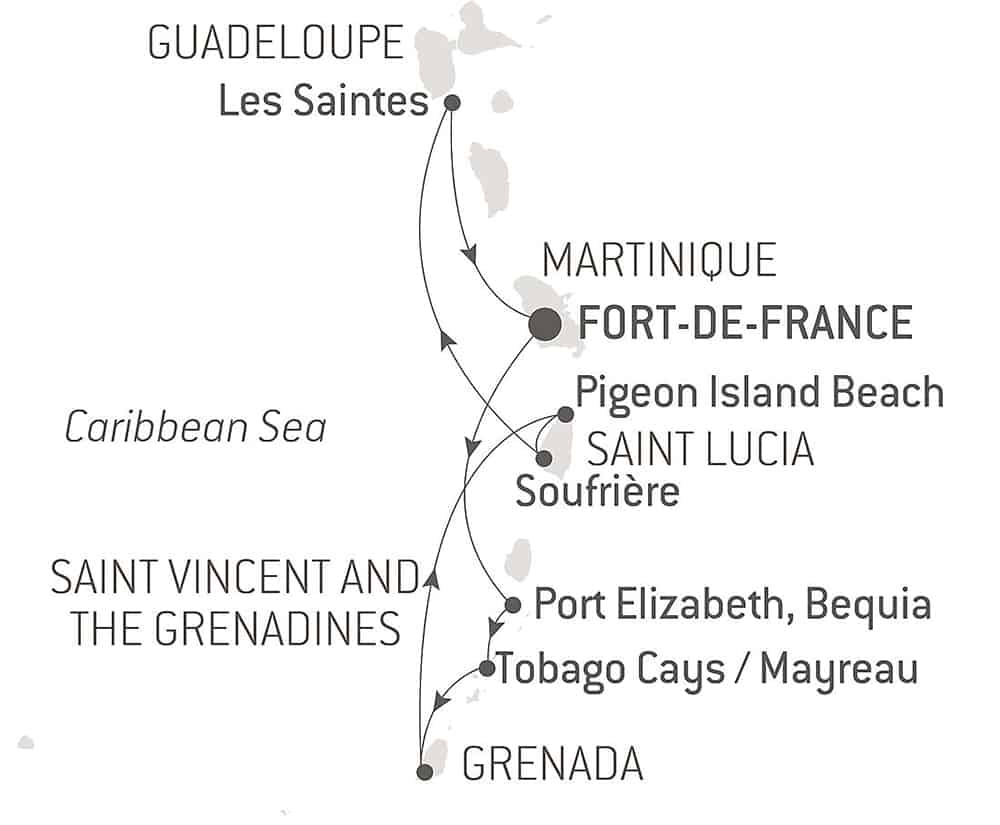 """Route map of 8-Day Pearls of the Caribbean Cruise, operating round-trip from Fort-de-France, Martinique, with visits to Port Elizabeth on Bequia Island, Saint George's on Grenada, Mayreau Island, Tobago, Pigeon Island, Soufriere in Saint Lucia & """"The Saints."""""""