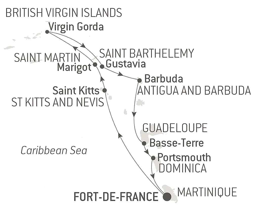 Route map of 9-Day Jewels of the Caribbean luxury cruise operating round-trip from Fort-de-France, Martinique, with visits to the heart of the West Indies & British Virgin Islands.