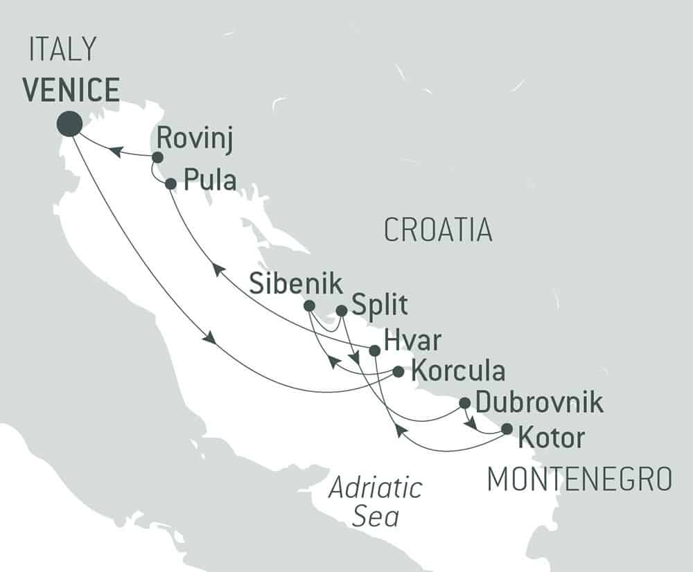 Route map of Best of Croatia luxury cruise, operating round-trip from Venice, Italy, with visits to Rovinj, Pula, Sibenik, Split, Hvar, Korcula, Dubrovnik & Kotor, Montenegro.