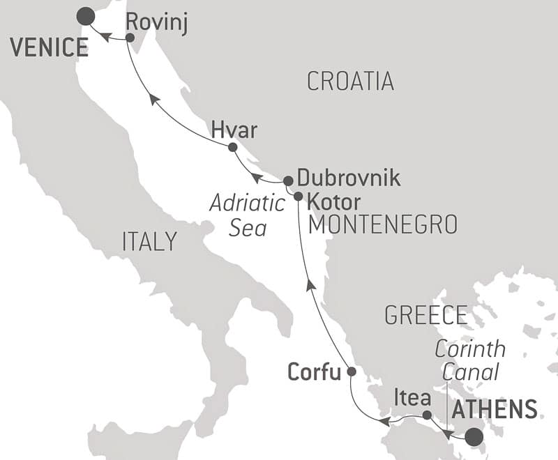 Route map of From The City of Gods to The Canals of Venice Mediterranean cruise, operating between Italy and Greece with visits along Croatia and Montenegro.
