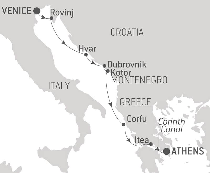 Route map of From The City of Gods to The Canals of Venice eastbound Mediterranean cruise, operating between Italy and Greece with visits along Croatia and Montenegro.