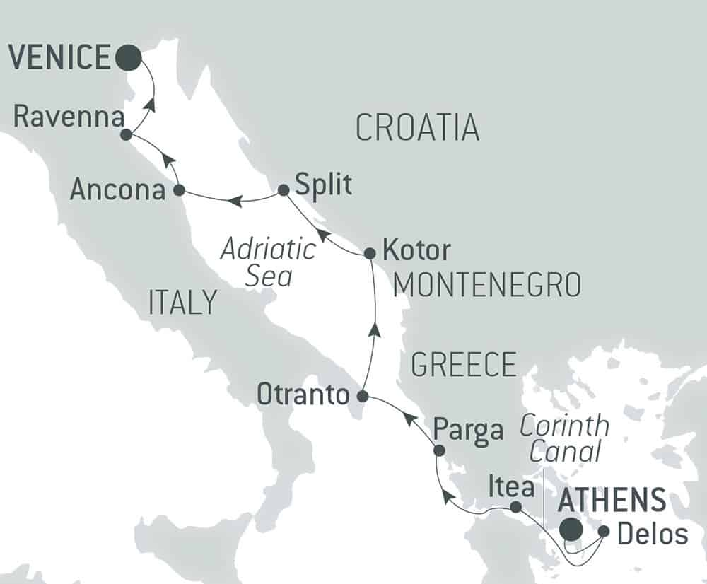 Route map of The Cultural Jewels of the Adriatic cruise, operating from Athens, Greece, to Venice, Italy, with visits within Greece, Montenegro and Croatia, and along Italy's eastern coast.