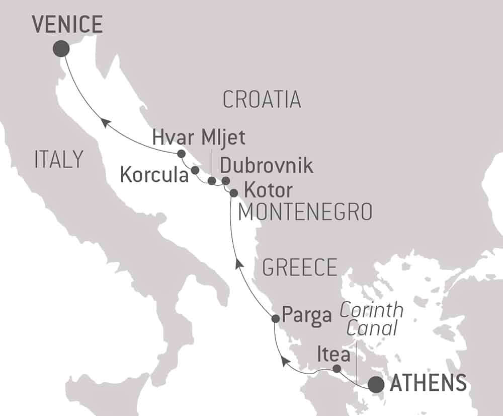 Route map of Dalmatian Shores luxury Mediterranean cruise, operating from Athens, Greece, to Venice, Italy, with visits to Montenegro & Croatia.