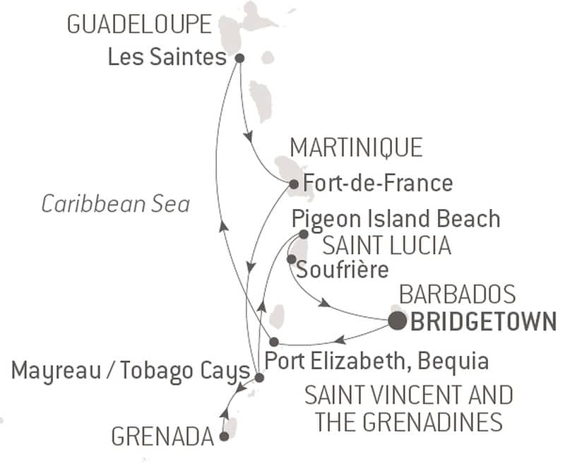 Route map of Pearls of the Caribbean cruise, operating round-trip from Bridgetown, Barbados, with visits to the islands of Saint Lucia, Martinique, Guadeloupe & Grenada.