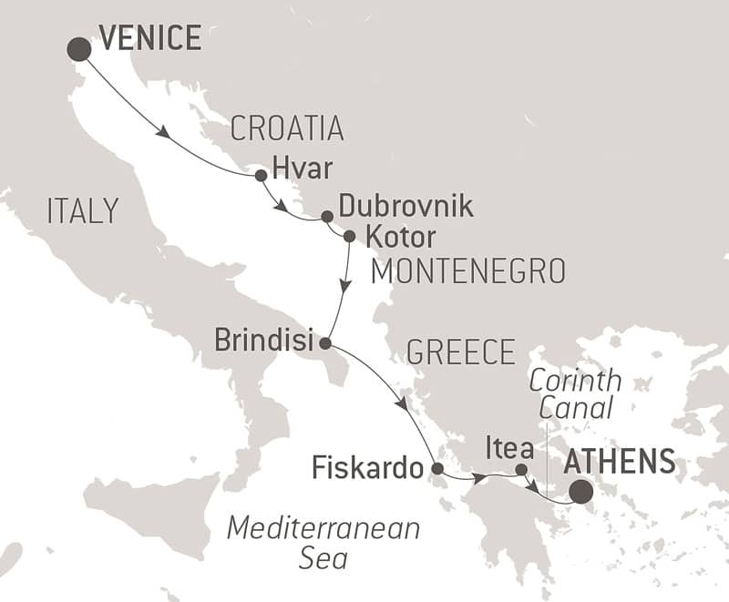 Route map of From The Serenissima to The City of Gods Mediterranean cruise from Venice to Athens, with visits to Croatia ports of Hvar, Dubrovnik & Kotor; Italy's Brindisi; and Greece's Fiskardo, Itea & Corinth Canal.