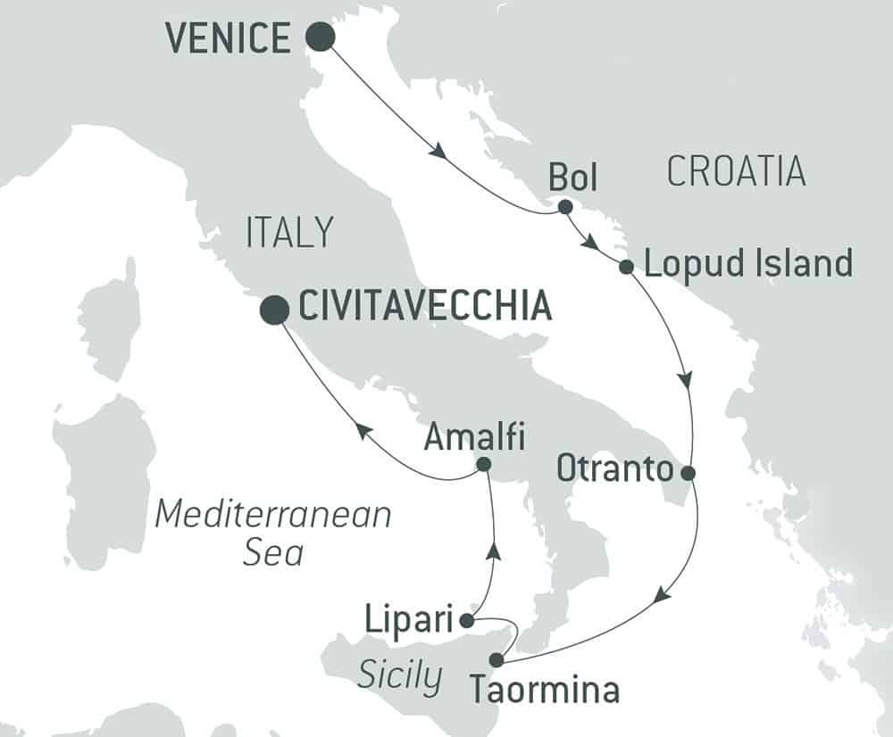Route map of Shores of the Adriatic & Italy luxury Mediterranean cruise, operating from Venice to Rome, Italy, with 2 stops in Croatia.