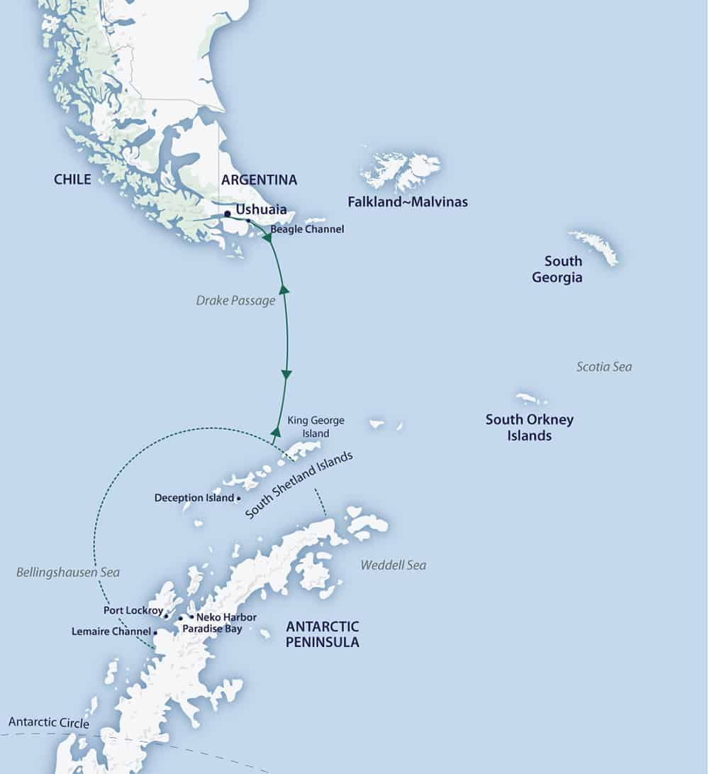 Route map of Spirit of Antarctica Expedition, a small ship cruise operating round-trip from Ushuaia, Argentina, to the South Shetland Islands & Antarctic Peninsula.
