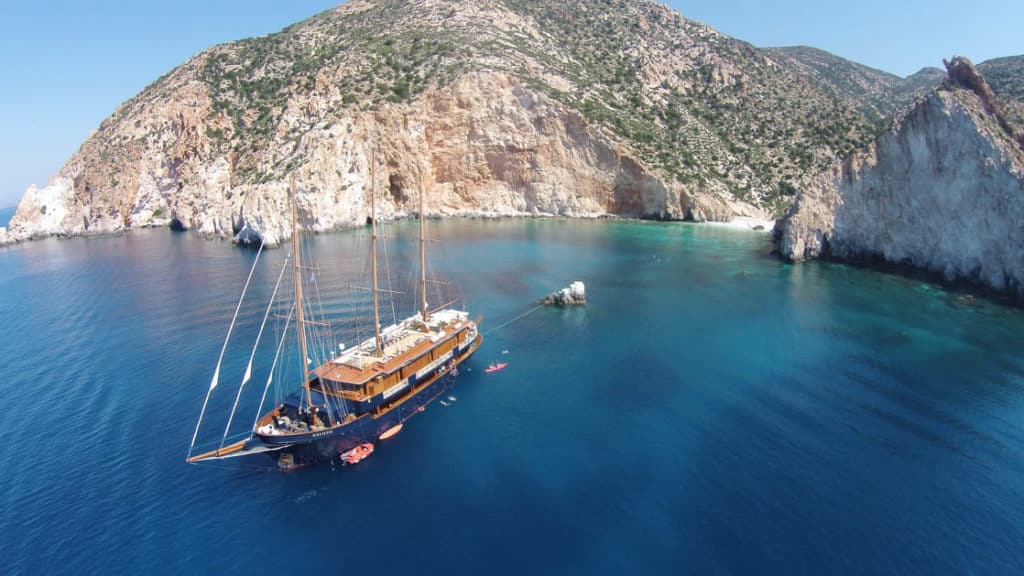 Small charter yacht Galileo seen from above in Greece