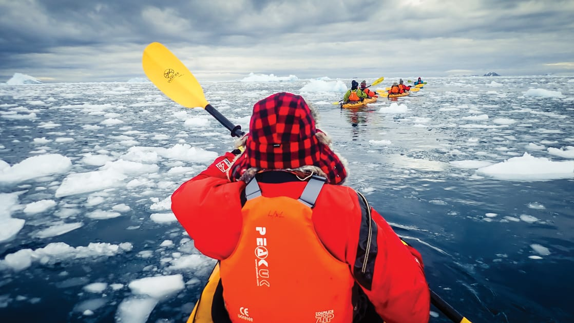 Back of the front paddler in a tandem kayak, paddling in a group among icebergs during the Active & Wild Antarctica Air Cruise.