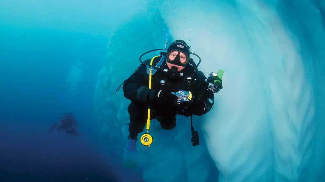 A polar diver looks up from beside a large chunk of underwater iceberg during the Active & Wild Antarctica Air Cruise.