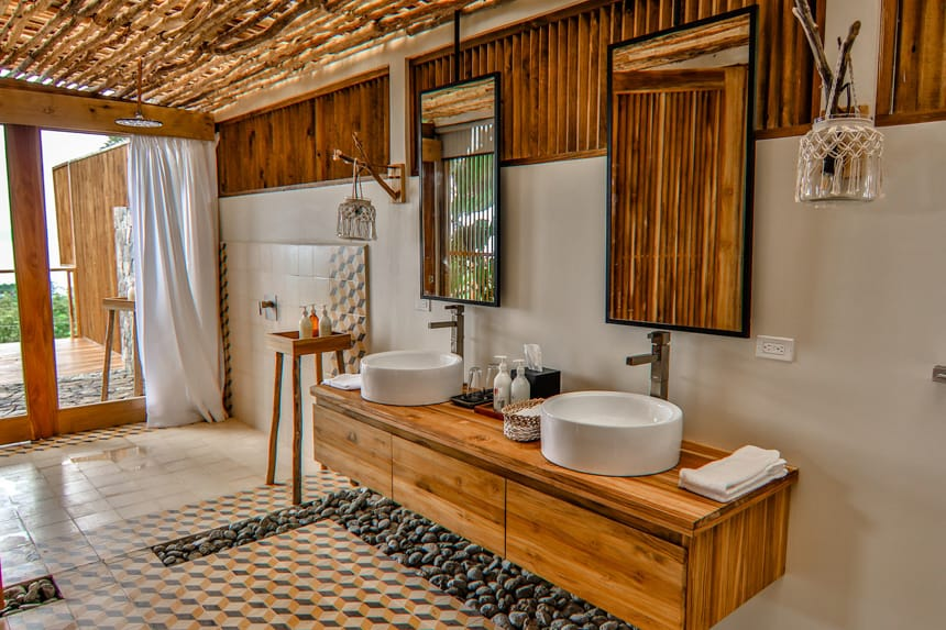 an open air sink area in a cabana at the Lapa Rios Eco Lodge in Costa Rica