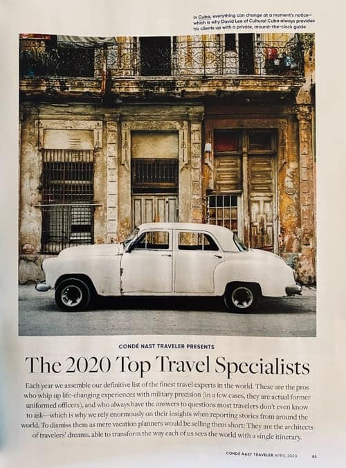 Inside the April 2020 issue of Conde Nast Traveler magazine featuring the winners of the top travel specialists. A scan of page 65