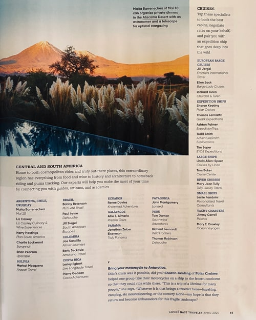 Inside the April 2020 issue of Conde Nast Traveler magazine featuring the winners of the top travel specialists. A scan of page 66